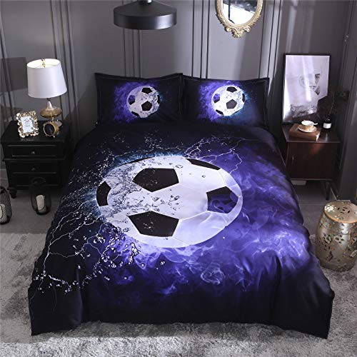 RENXR 3D Printed Football Sport Bedding Set With Zipper Closure, 2 Pillowcases, Soft Microfiber Quilt Cover,Single