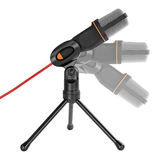 Redlemon Micrófono Condensador de Conexión Auxiliar 3.5mm, con Tripié Incluido, Semiprofesional Compatible con PC y Laptop, Ideal para Podcast, Radio, Videojuegos en Línea, Video Llamadas y más