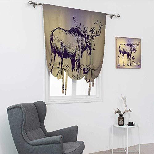 GugeABC Moose - Cortinas para niños, diseño de ciervo hipster con gafas de sol y cámara, diseño vintage degradado, diseño de animales divertidos, color morado y beige, 88,9 x 162,6 cm
