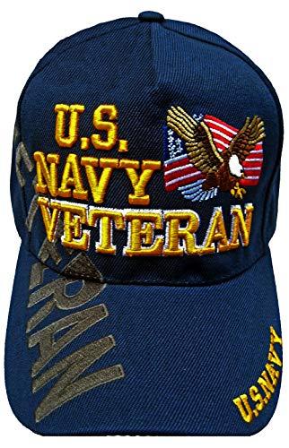 U.S. Navy Veteran Baseball Cap Blue Adjustable Military Vet Hat Flag Eagle