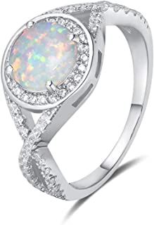 Mother`s Day Gift | FANCIME Created Opal Rings Sterling Silver 4-Prong Halo White Opal Cubic Zirconia Infinity Engagement Wedding Ring October Birthstone Fine Jewelry for Women Girls Size 5,6,7,8