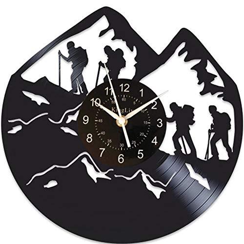 Mountain Climbers Reloj de Pared de Vinilo, Regalo para Climb Man, Mecanismo silencioso, Reloj de Pared, Regalo de cumpleaños de Escalada para niño de 12 Pulgadas