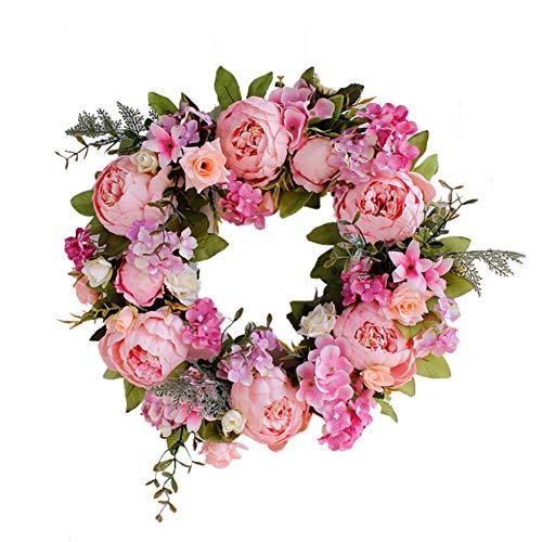 TianBao Türkranz hellt Haustür-Dekoration für Hochzeit, Geburtstag, Wohnzimmer, 1 Stück (40 cm, rosa Pfingstrose)