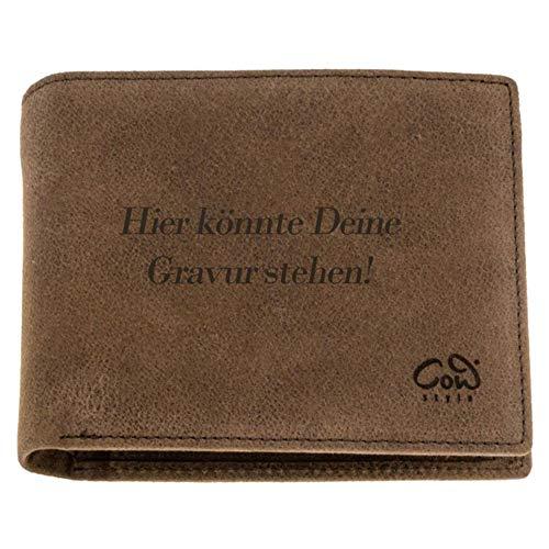 Herren Geldbörse mit Gravur personalisierbar mit Namen, Datum oder Logo   aus Leder mit Münzfach   mit Geschenkbox Geschenkidee für Männer   braun oder schwarz im Vintage-Look   der Marke COWstyle®