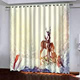 KJQTEN Blackout Curtains for Bedroom 200x214cm( W x H ) 2 Panels Curtains For Bedroom Eyelet Printed Blackout Curtains Thermal Eyelet Panels Elk Snow Scene in Winter For Kids Living Room Curtains