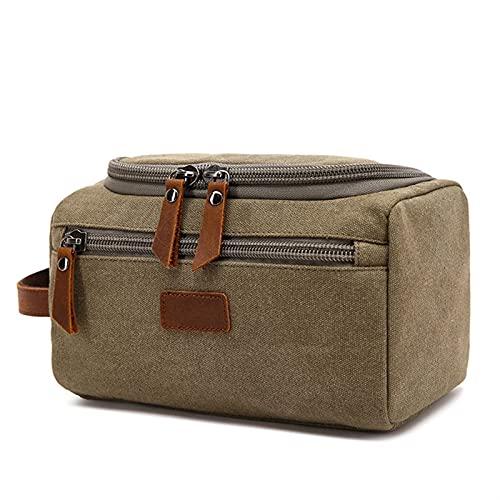 YYDMBH Bolsa de lavanderia Bolso de Aseo de Lona para Hombres Lavado de Afeitado Dopp Kit Mujeres Viajes Maquillaje Cosmetic Bags Bags Funda Organizador (Color : Green)