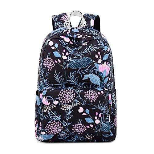 Acmebon Wasserdichter Stilvoller Schulrucksack für Jugendliche Mädchen Geräumiger Rucksack Tasche für Frauen Blume