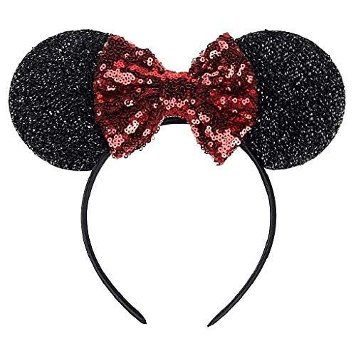 Las orejas y la diadema de color arco Minnie Mouse Negro con el accesorio rojo de las lentejuelas idea divertida disfraz