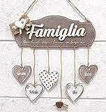 BPAPER QFAM9 Targhetta Famiglia con Fiocco in Juta e Cuore in Gesso - Misura 28 x 14 cm - Legno di Betulla
