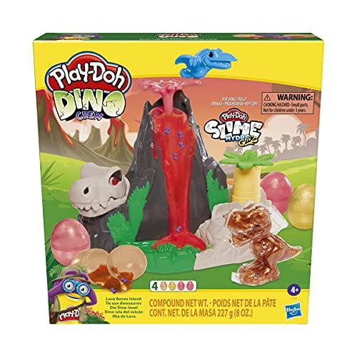Play-Doh Slime Dino Crew - Dino-Isla del volc n - Set de volc n con Huevos HydroGlitz y Peque os Objetos Mezclados - Juguete de Dinosaurio para ni os de 4 a os en adelante, no t xico