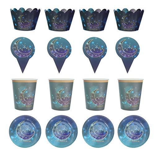 STOBOK 36 Unidades de Vajilla Eid Mubarak 6 Platos de Papel 6 Tazas de Papel 12 Tapas para Tartas 12 Llantas para Tazas Juego de Cubiertos de Ramadan Suministros para Fiestas de Ramadan