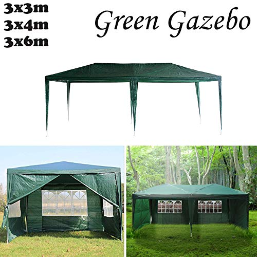 Küchenks Garden Gazebos, Green PE Gazebo Marquee Awning Tent Canopy for Outdoor Wedding Garden Party, 3x3m, 3x4m, 3x6m, Fully Waterproof, (3x3m, With Zip Up Side Panel)