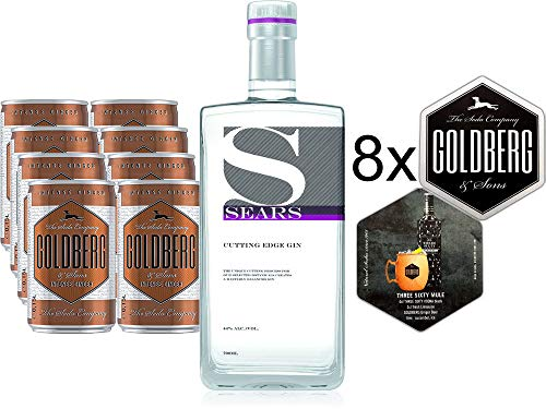 Sears Gin Mule Set - Sears Cutting Edge Gin 700ml 0,7l (44% Vol) + 8x Goldberg Intense Ginger je 0,15l = 1,2l inkl. Pfand EINWEG + 8x Goldberg Untersetzer mit Rezept- [Enthält Sulfite]