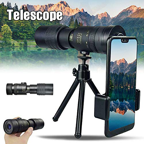 4K 10-300X40mm Super Telephoto Zoom Monocular Telescope, Outdoor Portable HD High-Power Phone Telescope for Bird Watching/Hunting/Camping/Travelling/Hiking (Telescope+Tripod + clip) 10-300X40mm