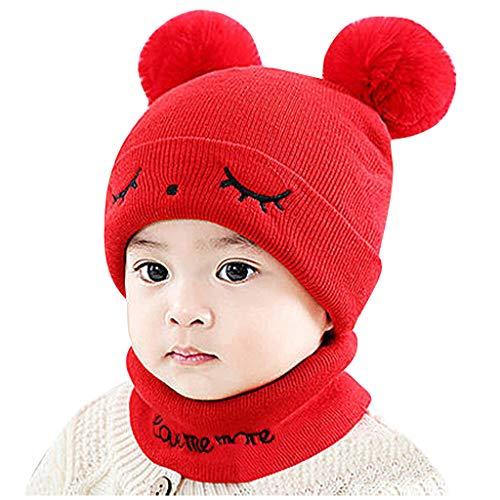 Cuteelf Herbst und Winter Baby Hut Baby Wolle Hut warm Baby Kind Hut Kragen Set Pompon Hut Winter warm gestrickt gehäkelt unschuldige Mütze Hut Schal