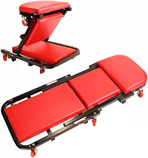 """ZXWCYJ Rolling Garage/Shop Creeper, 40"""" Padded Mechanic Cart with Headrest and 6 Casters, Red"""