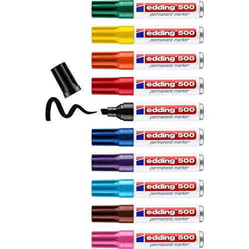 edding 500 Permanentmarker - mehrfarbig - 10 Stifte - Keil-Spitze 2-7 mm - wasserfest, schnell-trocknend - wischfest - für Karton, Kunststoff, Holz, Metall, Glas