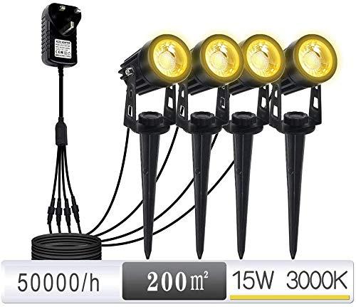 Wlnnes 15W LED Lampes de Jardin - 12V LED d'éclairage paysager 4 Pack - IP65 étanche Powered Basse Tension Spotlights avec Adaptateur d'éclairage LED for Le Jardin, pelouse, Chemin, Cour