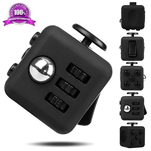 Ultra Strong 6 sides Fidget Attention Dice Cube, Anti-anxiety and Depression, Relieves Stress for Work, Class, Home by ❤ Authentics (Black)