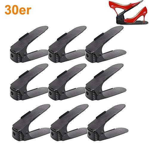 Aufun Einstellbare Schuhregale 30 Stück Schuhstapler/Schuhhalter Set, 3 höhenverstellbar,...