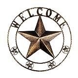 YIYA 30CM Decorazione del segno di benvenuto in metallo per Porta d'ingresso Giardino Camera da letto Oggettistica per la casa Bar Caffetteria Negozio Arredamento, Oro Nero