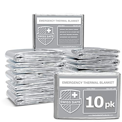 Swiss Safe Emergency Mylar Thermal Blankets (Bulk 10-Pack) - Designed for NASA, Outdoors, Hiking, Survival, Marathons or First Aid (Silver 10-Pack)