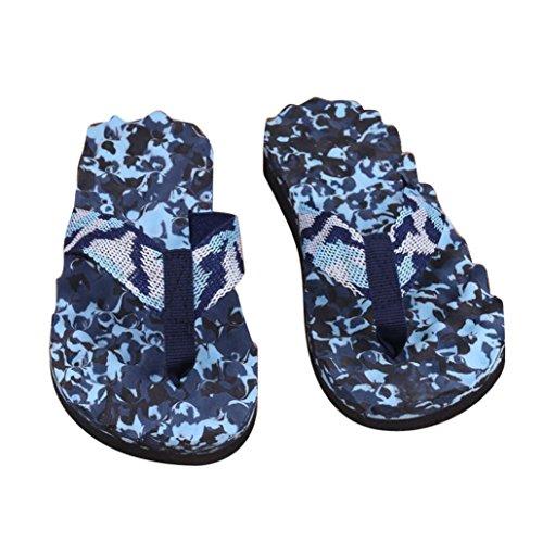 LONUPAZZ Chaussons De Plage été Femmes Hommes Camouflage Flip Flops Chaussures Plateforme Sandales Pantoufles Flip Flops Tongs (45, Bleu (Homme))