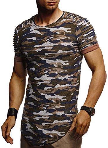 Leif Nelson Camiseta para Hombre con Cuello Redondo LN-6325 Camuflaje Small