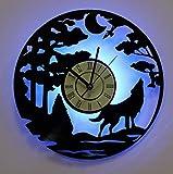 Mslis Creativo retrò Notte Foresta Luna Lupo ululante Orologio da Parete in Vinile Orologio a LED Lampada Luminosa Soggiorno Decorazione Orologio Orologio con LED