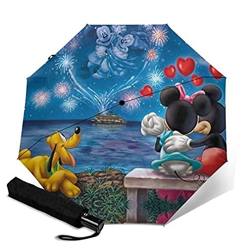 Mickey Cartoon Minnie Mouse Paraguas automático de tres plegables, ligero y portátil para fines soleados y lluviosos, sombreado al sol y a prueba de rayos UV