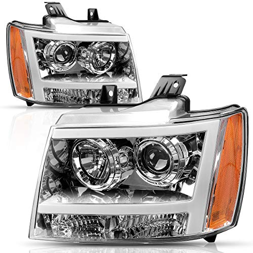 AUTOSAVER88 Headlight Assembly LED DRL Projector for 2007-2013 Chevy Avalanche Pickup Truck 07-14 Chevy Suburban/Tahoe Replacement for Chevrolet SUV Pickup Truck 20760578 20760579