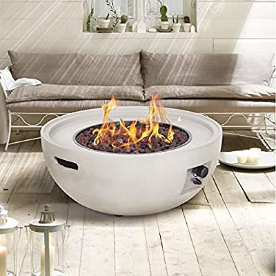 Outdoor Fire Pit   Concrete Bowl Patio Heater   Eco-Friendly Propane Gas Garden Firepit   Real Flames   Includes Lava Rocks, Tempered Glass Lid & Cover (White) by Virtuem