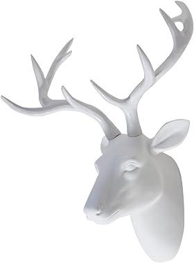 Deer Head Wall Art Animal Head Art Decor White Fake Furry/Felt/Velvety Resin Deer Head With White Antlers for Home/Bar/Office