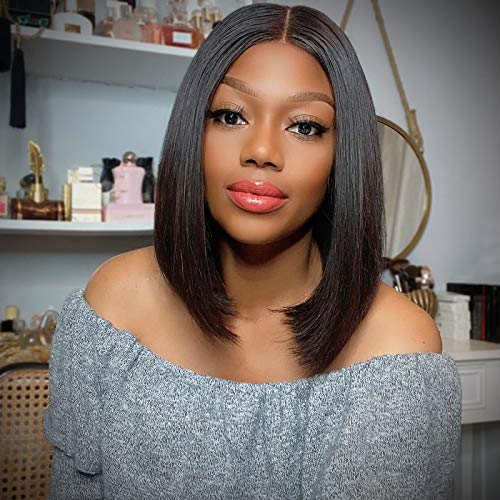 LUVME Hair 4x4 Short Bob Lace Front Wigs Middle Part Blunt Cut Bob Wig Human Hair For Women Straight Bob Closure Wig Natural Black (12 Inch)