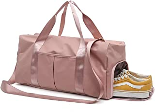 Longjet Sports Gym Bag with Shoes Compartment and Wet Pocket Travel Duffel Bag for Men and Women (Pink)