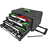 TecTake 899 Morceau boite trolley coffret malette a outils chrome vanadium mallette avec 4 tiroirs