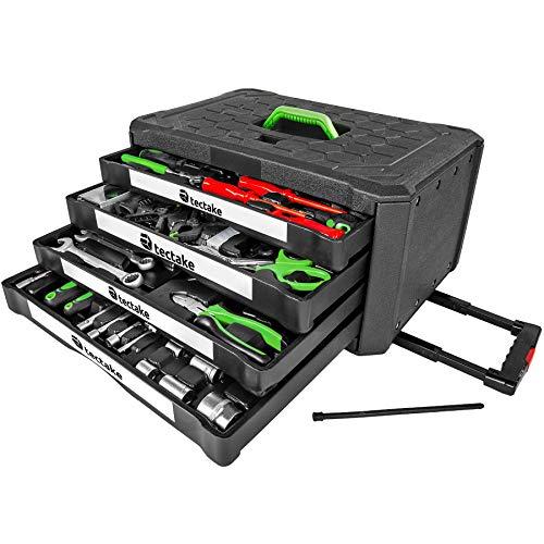 TecTake 899 teiliger Werkzeugkoffer mit 4 Schubladen | Werkzeug bestückt
