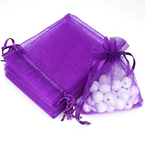 Akstore 100Pcs 2.8'x3.6'(7x9cm) Sheer Drawstring Organza Jewelry Pouches Wedding Party Christmas Favor Gift Bags (Purple)