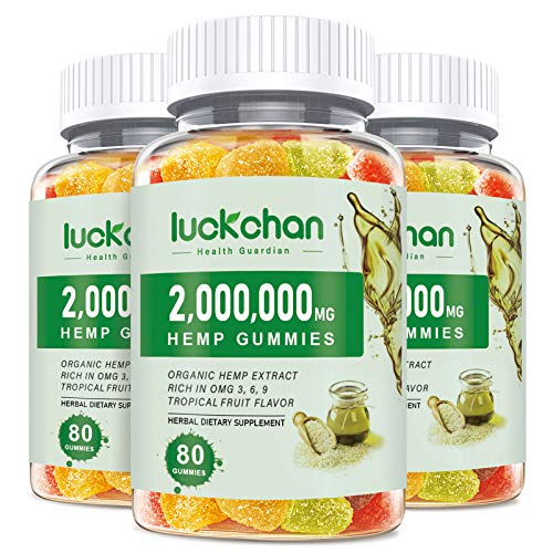 (3 Pack) High Potency Hemp Gummies for Pain Relief and Inflammation - 2,000,000 Extra Strength Hemp Seed Extract - Stress, Sleep, Focus, Mood & Anxiety - Organically Grown in USA