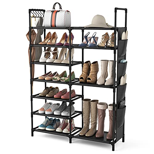 VTRIN Shoe Rack Shoe Organizer 7 Tier Shoe Rack for Entryway Holds 24-28 Pairs Shoe and Boots Shelf Organizer Storage Organizer Durable Metal with...