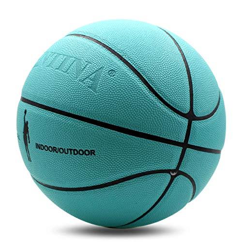 ERS Baloncesto para mujer y hombre, tallas 7, color azul, ideal para entrenamiento de interior/al aire libre, calle, baloncesto, superficie suave, antideslizante, alta durabilidad, buen agarre de goma