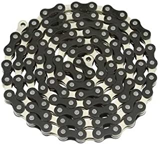 YBN Chain 1/2x1/8x112 Black/Chrome. for Bicycle Chain, Bike Chain, lowrider Bikes, Beach Cruiser, Chopper, limos, Stretch, BMX, Track Fixie Bicycles