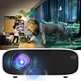 Rosvola 3D Mini Projektor, W90 Ultra-HD LCD, rot und blau 480P für Androids Version Cinema Beamer White für Heimkino Unterhaltung 110-240V(EU)