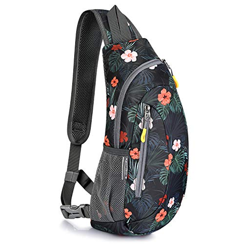 G4Free Sling Bags Shoulder Backpacks Chest Triangle Pack Rucksack Small Crossbody Lightweight Multipurpose Daypacks for Adults or Teenagers (Flower Black)