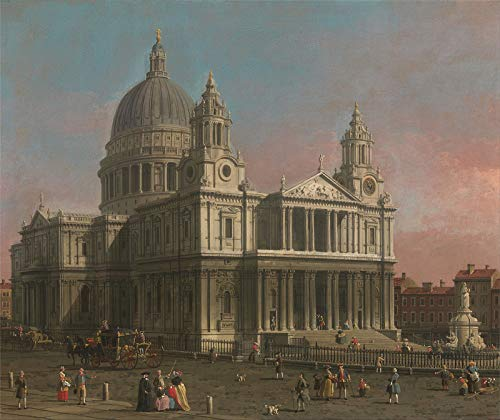 "Canaletto St. Pauls Cathedral 1754 Yale Center for British Art 30"" x 25"" Fine Art Giclee Canvas Print (Unframed) Reproduction"