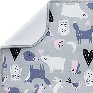 JN&LULU Baby Sheet Protector pad Incontinence Pads Bad Pad Organic Cotton Waterproof Changing Pad Liners 2PK Super Absorbent and Ultra Soft (Grey Animal, S)
