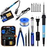 Soldering Iron Kit Electronics, 60W Soldering Welding Iron Tools with ON-Off Switch, 5pcs