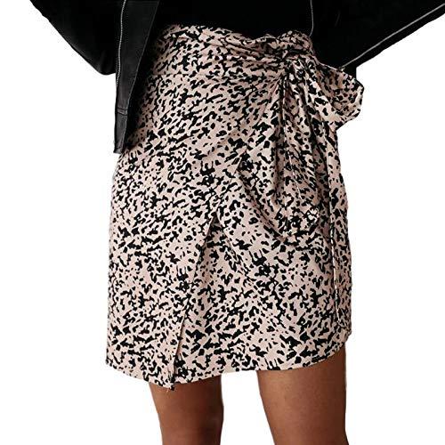 YLXINGMU Faldas De Mujer, Pring Wo En High Wai T Eopard Impresión Ini Wrap Kirt Ca UA I Bandage Kirt Ady E Egant Irregu Ar Hort,