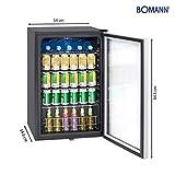 Bomann KSG 7283 Glastürkühlschrank, 115 Liter, LED Innenraumbeleuchtung (separat schaltbar), wechselbarer Türanschlag, Energieeffizient E, schwarz - 7
