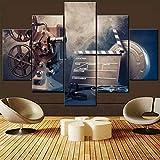 CGHBDOP Modular HD Lienzo Imagen 5 Piezas Cuadro sobre Arte Pared 5 Partes Modernos Mural Cine Cine Antiguo Rollo De Película Impresión Salón Decoración Frame Poster